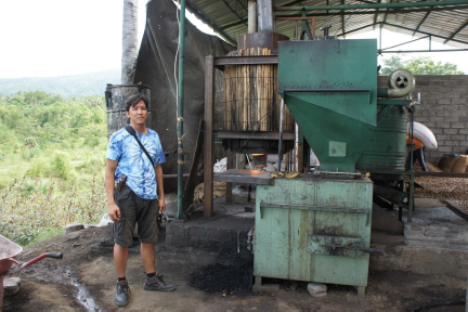 Jed Guinto and the Cashew Gasifier, the steaming system behind it